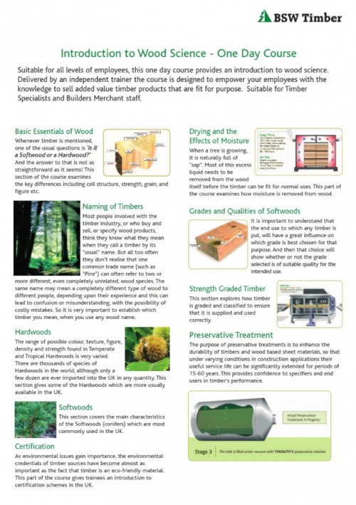 Constructive timber training course (CTTC) leaflet