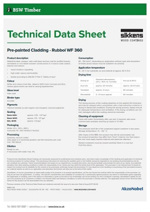 Pre-painted cladding technical data sheet