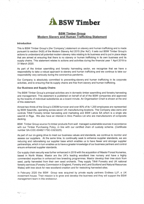 Modern slavery and human trafficking statement (2020)