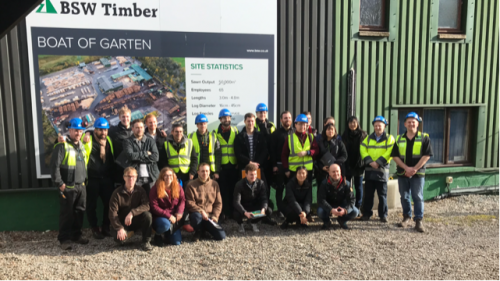 Harvard students visit Boat of Garten sawmill